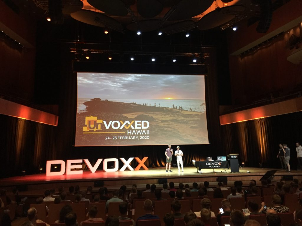 unvoxxed announcement on devoxxPL stage